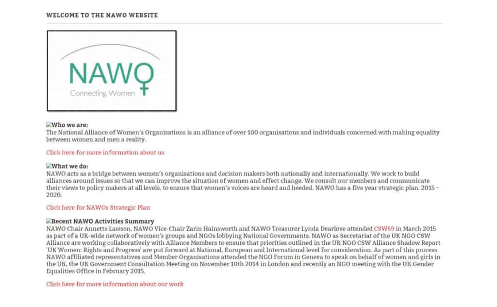 NAWO - Before Website Design